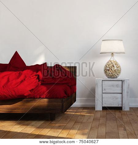 Bed with red linen standing beside night table with lamp (3D Rendering)