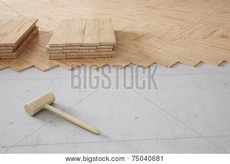 Poplar hardwood floor construction in a renovated room (3D Rendering)