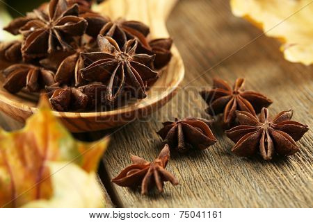 Stars anise in wooden spoon on table close up
