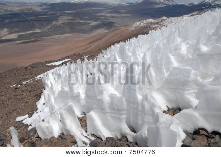 Snow on slope of Ojos del salada, Argentina-Chile border