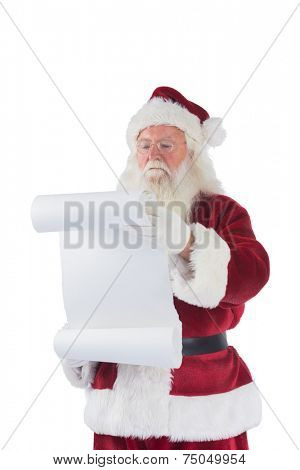 Santa Claus reads a list on white background