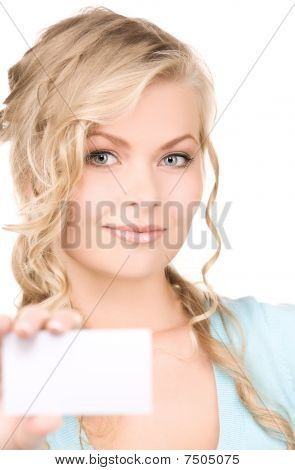 Happy Girl With Business Card