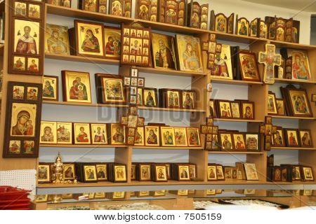 Christian symbols in souvenirs Shop in Jerusalem
