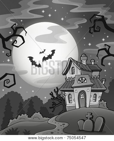 Black and white haunted house - eps10 vector illustration.