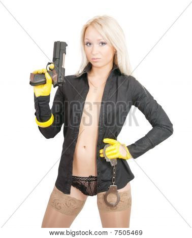 Sexy Woman With Pistol And Manacles