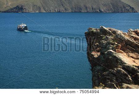 car ferry on the Baikal lake