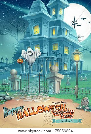 Holiday card with a mysterious Halloween haunted house and fun ghost