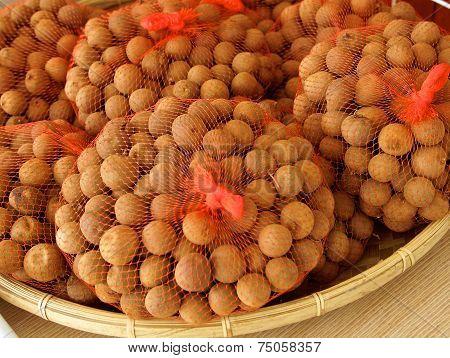 Sweet dried longan fruit closeup