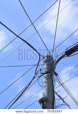 Electricity pole with telephone wires