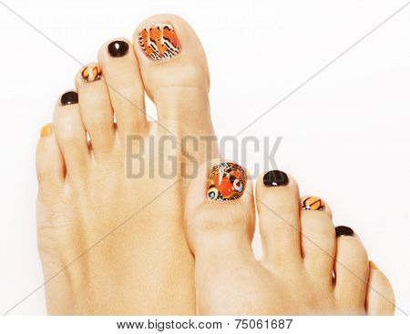 pedicure with butterfly design isolated on white