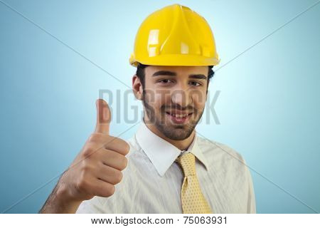 Young civil engineer is happy with the result.