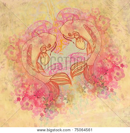 Japanese Carp Koi Fish On Vintage Background
