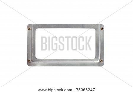 Blank sliver metal name plate isolated on white