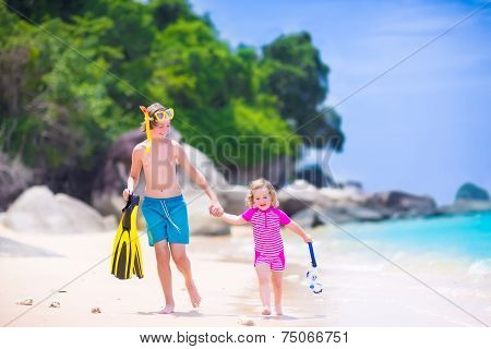 Kids Playing On A Beach