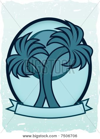 Twin Palm Sun Badge Oval Banner Teal Blue Grungy