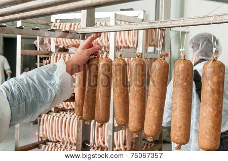 Sausage Hanging In The Warehouse