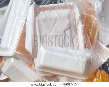 Foam food box in plastic bag ready for recycle