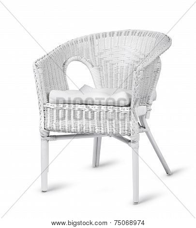 White Wicker Chair Isolated