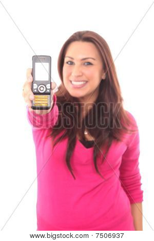 Woman Holding Out Mobile Phone