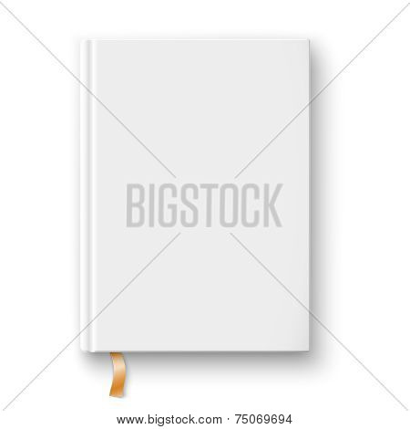 Blank book template with gold bookmark.
