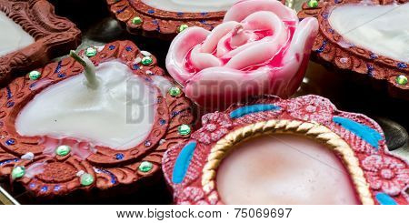 Tradional Indian Diya And Wax Rose