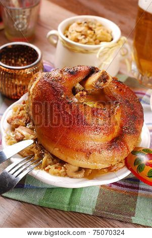 Roasted In Beer Pork Knuckle With Sauerkraut For Dinner