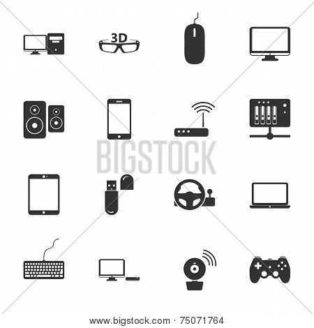 Computers, Peripherals And Network Devices Black And White Flat Icons Set