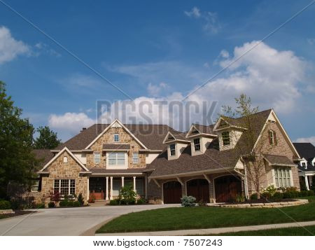 Large Two Story Stone and Brick  Residential Home
