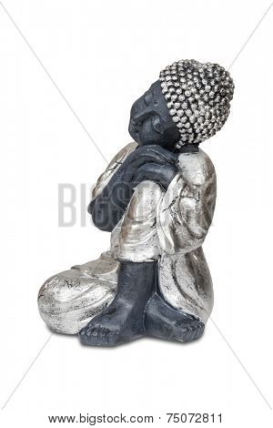 Black sleeping Buddha isolated over white with clipping path.