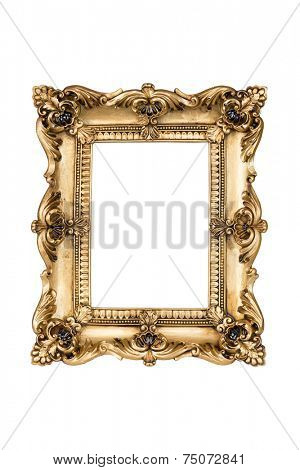 Golden picture frame over white with clipping path