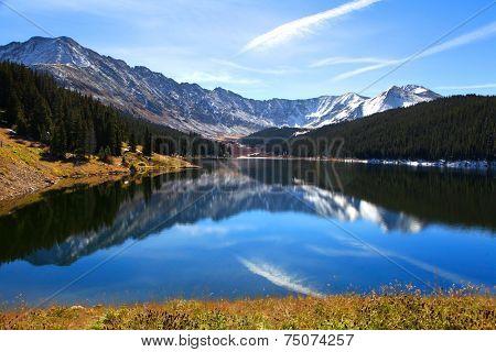 Scenic landscape near Clinton Gulch dam reservoir