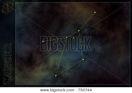 Zodiac constellation - Cancer. Stars on the Nebula like background