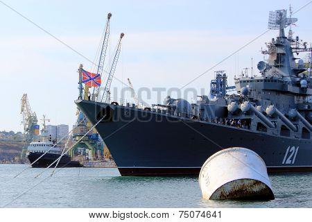 Warships in the Black Sea in the Crimean port of Sevastopol, Ukraine