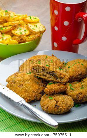 Crispy Breaded Mushroom Schnitzel