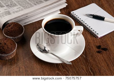Business Still Life With Cup Of Black Coffee