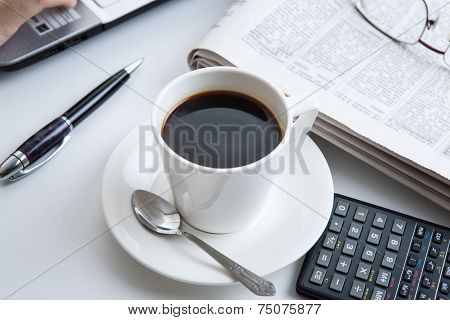 Businessman Running And A Cup Of Coffee