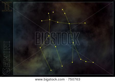 Zodiac constellation - Gemini. Stars on the Nebula like background