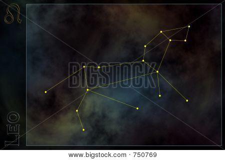 Zodiac constellation - Leo. Stars on the Nebula like background