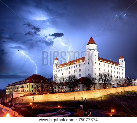 Bratislava Castle From Parliament At Twilight - Slovakia