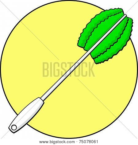 toilet bowl brush with green bristles and white handle