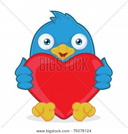 Blue Bird Holding Heart Love