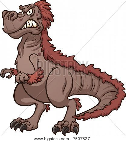 Angry Tyrannosaurus Rex. Vector clip art illustration with simple gradients. All in a single layer.