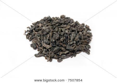 gunpowder green tea isolated on white
