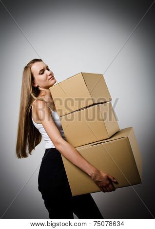 Woman And Cardboards.