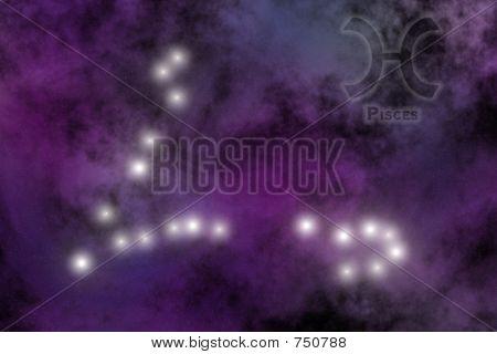 Zodiac constellation - Pisces. Stars on the Nebula like background