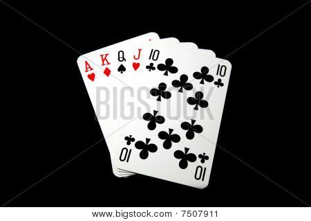 straight poker cards isolated on black