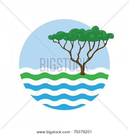 tree near the water, round vector logo illustration
