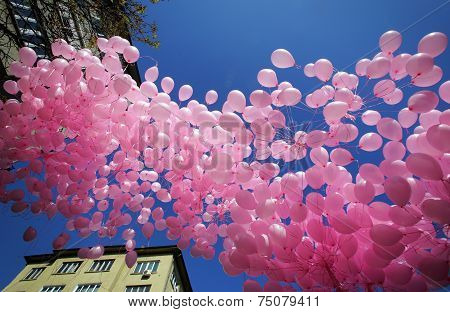 Hundreds Of Pink Balloons