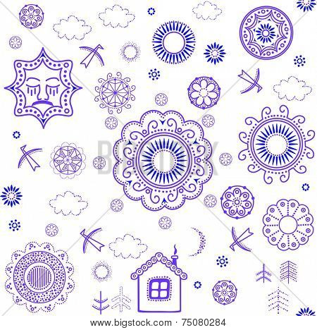 Shrovetide wallpaper with blue pattern