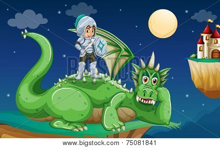illustration of a knight and a dragon